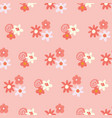 pink and yellow ditsy flowers background seamless vector image vector image