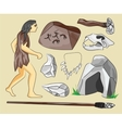Prehistoric stone age icons set vector image vector image