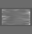 realistic glossy stretched plastic warp on gray vector image vector image