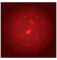 red background with spiral music staff vector image