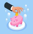 saving money isometric concept piggy bank vector image