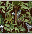seamless pattern with tropical trees and zebra vector image vector image