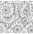 Seamless Sunflowers bouquet Coloring book vector image vector image