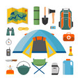 set of camping and tourism on an outdoor flat vector image
