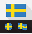 set sweden flag flat design vector image vector image