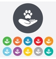 Shelter pets sign icon Hand holds paw symbol vector image