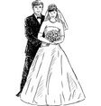 Sketch happy bride and groom