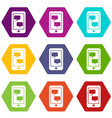 smartphone and speech bubbles icon set color vector image vector image