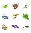 snake icons set cartoon style vector image vector image
