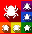 spider sign set of icons vector image