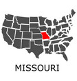 state of missouri on map of usa vector image vector image