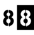 stencil numeral 8 and drip paint black on white vector image