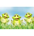 Three happy frogs in the garden vector image vector image
