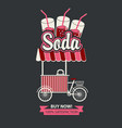 tray on wheels for sale of carbonated drinks vector image vector image