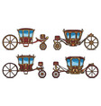 wedding carriage set outline retro royal chariot vector image vector image