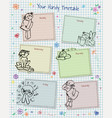 timetable with doodles hearts and flowers vector image