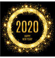 2020 happy new year glowing gold background vector image