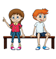 A boy and a girl sitting on a bench vector image vector image