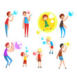 adults and children blowing soap bubbles people vector image vector image