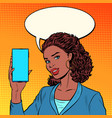 african businesswoman leads a stream on phone vector image vector image