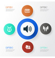 audio icons set collection of dossier octave vector image