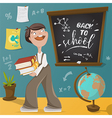 back to school schoolboy and school supplies vector image