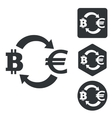 Bitcoin-euro exchange icon set monochrome vector image vector image
