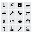 black plumbing icon set vector image vector image