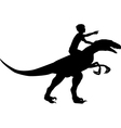 Boy riding raptor vector image vector image