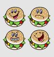 Burger cartoon character expression vector image