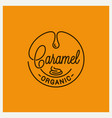 caramel logo round linear on yellow vector image vector image