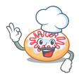 chef jelly donut character cartoon vector image
