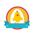 circular stamp with silhouette chicken animal and vector image