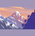 climbing on mountain silhouette traveling people vector image vector image