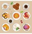 Coffee And Sweets Top View Set vector image vector image