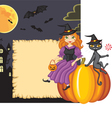 congratulation on halloween with a witch and a cat vector image