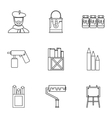 Drawing icons set outline style vector image vector image