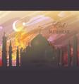 eid mubarak - watercolor mosque vector image