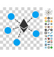 ethereum net structure icon with bonus vector image vector image