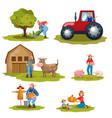 farming flat set vector image vector image