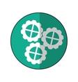 gear wheel engine cog icon green shadow vector image