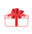 gift box with red ribbon icon flat style vector image