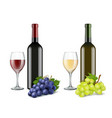 grapes and wine glasses realistic pictures vector image vector image
