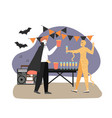 halloween party at office people in halloween vector image vector image