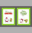 happy holidays and merry christmas cards with vector image vector image