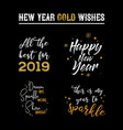 happy new year 2019 typographic emblems set vector image