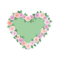 heart frame decorated with roses isolated on vector image vector image