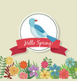 hello spring greeting card blue bird flowers vector image vector image