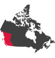map canada - british columbia vector image