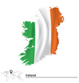 Map of Ireland with flag vector image